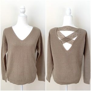 Poof Apparel Tan Lace Back Sweater